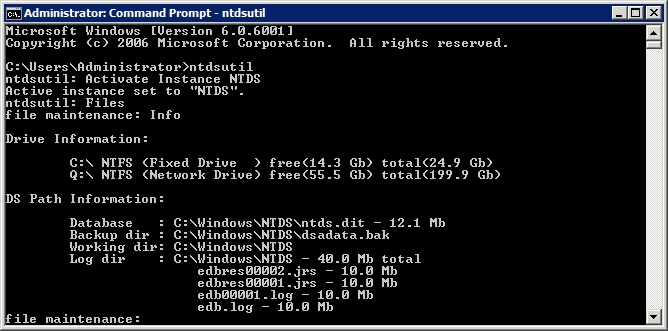Defragmenting an Active Directory Database using ntdsutil command